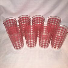 Lot of 8 - Vintage Tumbler Beverage Cups Drinking Glasses Pink Gingham Plastic