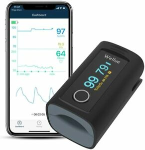 Fingertip Pulse Oximeter Blood Oxygen Saturation with Alarm, and Free App