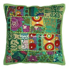Decorative Cotton Chair Cushions Green Vintage Patchwork Floral Pillow Covers