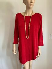 CHICO'S SIZE 3 (XL) DEEP DARK RED SCOOP NECK 3/4 SLV ASYMMETRICAL TUNIC TOP NEW