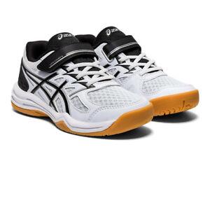 Asics Boys Upcourt PS Indoor Court Shoes Black White Sports Squash Badminton