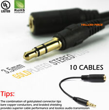 """10x 6inch 3.5mm 1/8"""" Stereo Audio Aux Headphone Cable Extension Cord Male/Female"""