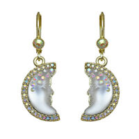 Kirks Folly Moon Shadow Goddess Leverback Earrings (Goldtone/Crystal AB)