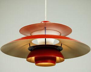 Pendel Leuchte Louis Poulsen PH5 Hänge Lampe Design Original Vintage rot 60-70er