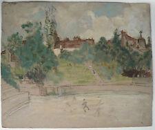Dessin Huile MARTHE ORANT c.1920/1930 Paysage Parc Étude Esquisse Tableau #1