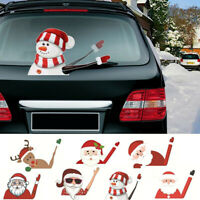Merry Christmas Car Stickers Windscreen Wiper Santa Snowman Window Decals Decor