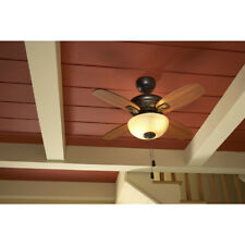 "32"" Downrod Close Mount Indoor Outdoor Ceiling Fan with Light Kit 4-Blade Bronze"