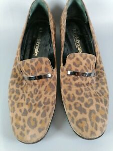 Russell & Bromley leather leopard print loafers uk 7 eur 40 ladies small heel