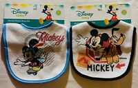 Lot Of 2 Brand New Disney Mickey Mouse Baby Bibs: Goofy & Mickey Skating