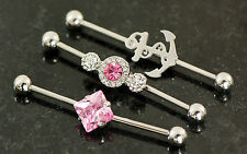 """3 Pc Mix Pink C.Z, Anchor Surgical Steel Industrial Barbells, Cartilage 14g 1.5"""""""