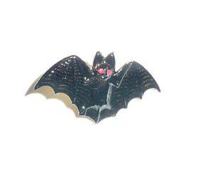 """Scary But Cute Black Bat Metal Shank Button 1"""" x 5/8""""  Halloween Bat Button"""