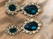 Anna Dello Russo X H&M Earrings Emerald Green Diamond Rhinestone Earrings RARE