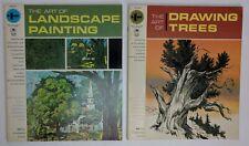 2 Vtg Instructional Books Art of Landscape Painting & Art of Drawing Trees 1965