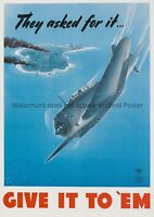 Give it to em Poster WWII WW2 propaganda print aircraft US Air Force vintage war