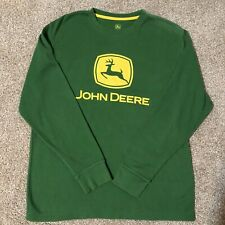 John Deere Long Sleeve Thermal Shirt Large L Yellow Green EUC Farming Casual