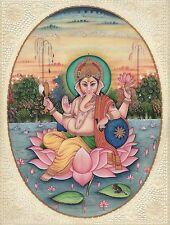 Lord Ganesha Painting Handmade Indian Hindu Miniature Religious Watercolor Art