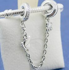 925 Sterling Silver Decorative Butterflies Safety Chain Charm Fit Bracelet NEW