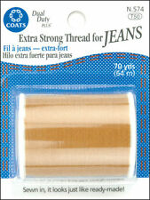 NEW!! Coats & Clark Extra Strong Thread For Jeans Cotton Covered 70 Yards-Golden