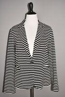 OLIVIA MOON NEW $79 Ponte Knit Blazer Black Ivory Stripe Medium