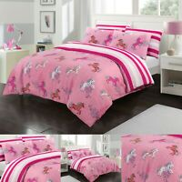 UNICORN PINK HORSE DUVET COVER SET 100% COTTON SINGLE DOUBLE SIZE QUILT BEDDING