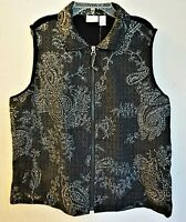 Chico's Weekends Woman Black Silver Paisley Print Full Zip Vest Sz 2 L NWT Gift
