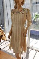 Lim's Vintage Women Cotton Hand Crochet Dress Natural  S, M, L