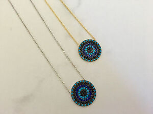 Sterling Silver / Gold Cubic Zirconia CZ Turquoise Evil Eye Mati Nazar Necklace