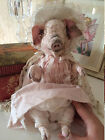 Very special OOAK teddy Pig Mademoiselle antique style