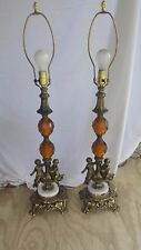 """PAIR OF 35"""" ANTIQUE Marble base & Brass CRYSTAL CHERUB TABLE LAMPS Italy"""