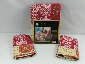 Patchwork Quilt Coverlet Set King Red Berry Scroll Floral Lightweight 3 Pc 1177