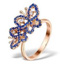 Anillos de joyería con diamantes de oro rosa de 9 quilates