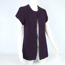 ROCKMANS Purple Short Sleeve Knit Cardigan Top Women's Size M  #27789/30147