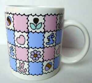 Easter Mug Pastel Pink and Blue Colors Bunnies Eggs and Hearts Decorated