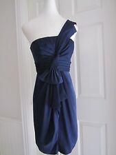 BCBG Max Azria One Shoulder Empire Waist Palais Navy Blue Sateen Dress Size 4