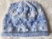 Hand Knitted Bebé Chicos Rodado Ala Sombrero, efecto de mármol azul de lana, se adapta a 0-3 meses