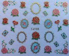 Nail Art 3D Decal Stickers Valentine's Day Wedding Roses Love Letter Heart Tj108