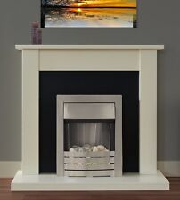 ELECTRIC FIRE IVORY SILVER OFF-WHITE FIREPLACE SURROUND BLACK BACK PANEL PEBBLES