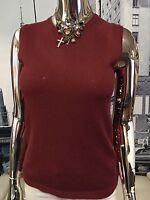 GIORGIO ARMANI BLACK LABEL Womens Cabernet Cashmere Sleeveless Sweater 44 💋