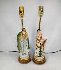 Vtg. Pair Figural Table Lamps Count & Countess Porcelain w/ Solid Brass Parts