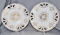 Paar Durchbruch Teller, weiß Gold, um 1900, 19,5 cm