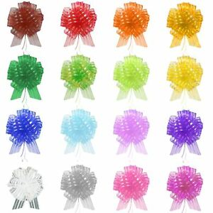 PREMIUM 50mm Organza Stripe Pull Bows! Pompom Pullbow CHEAPEST ON EBAY!
