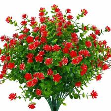 4pcs Artificial Flowers Fake Plant Outdoor Faux Floral Greenery Shrubs Red