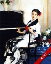 BEAUTIFUL YOUNG WOMAN IN BLACK & WHITE DRESS PIANO OIL PAINTING ART CANVAS PRINT