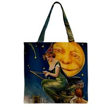 Vintage Halloween Owl Full Moon Flying Witch Broomstick Grocery Tote Bag