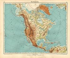 1908 MAP ~ NORTH AMERICA PHYSICAL ~ UNITED STATES MEXICO CANADA HAITI CUBA