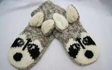 Special Edition deLux tag Adult RACCOON MITTENS gray LINED mask knit grey gloves