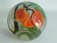 Orient & Flume Crystal Cased Sweet Peaches L. Hudin Paperweight 1986 EC