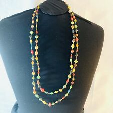 African Uganda Handmade Recycled Paper Necklace Paper Multi Strand Multi-color