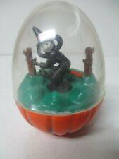Vintage Halloween Hard Plastic - Flying Witch on Broom Inside Egg