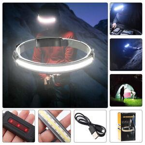 COB LED Headlamp Headlight Torch Rechargeable Work Light Bar Head Band Lamp USB